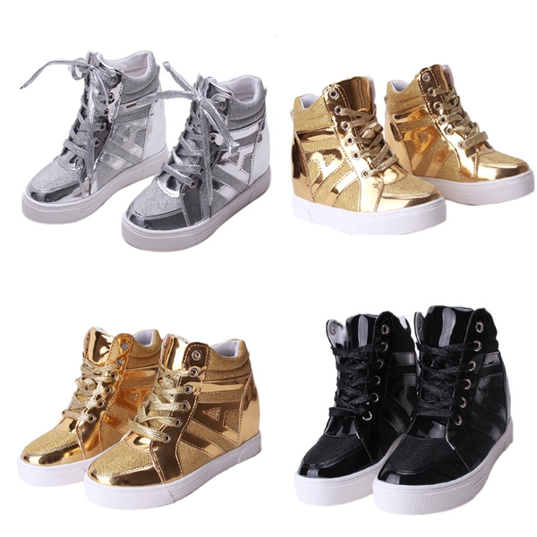 Picture of Sports Women Canvas Lace Up Sneakers Anti-slip High Top Boots Sequined Casual Shoes