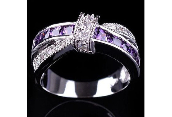 New 6-10# Engagement 925 Sterling Silver CZ Amethyst Cross Wedding Band Rings