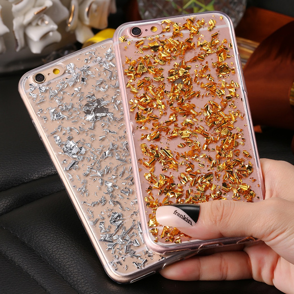 Picture of 6s Luxury Gold Case For Iphone 6 6s 4.7inch For Iphone 6s Plus 5.5inch Fashion Glitter Bling Soft Tpu Clear Cover For Iphone7/7plus/6/6s/6plus/6splus/se/5/5s For Samsung Galaxy S8 S7 Edge S6 Edge Note4/5