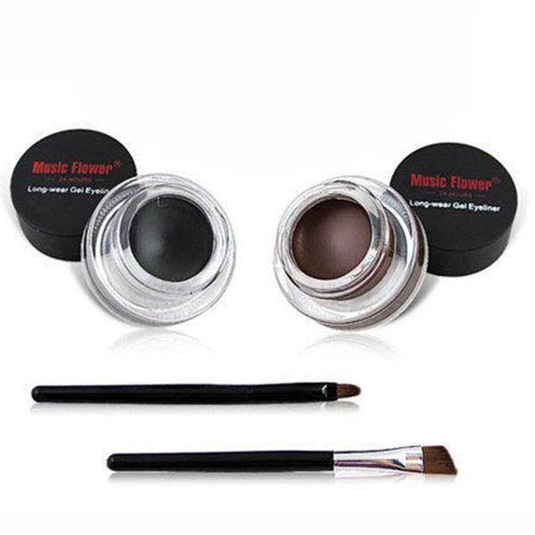 Picture of 2pcs Makeup Waterproof Eyeliner Gel Cream Eyes Cosmetic Black Brown+brush