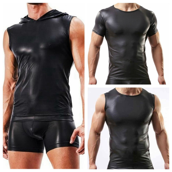 e17eec9f Fashion Men's Faux Leather Sexy Sleeveless Vest Tank Top Hooded Vest ...