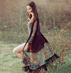 Fashion Women Boho Chiffon Kimono Shirt Cardigan Tassel Long Beach Cover Up Tops (One Size)