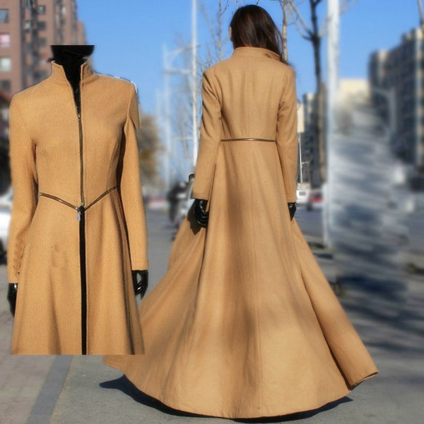 d3ee47f12 Women Maxi Long Woolen Coat Slim Winter Jacket Floor-length Outerwear Extra  Long Trench Coat For Women