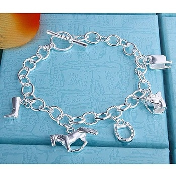 Picture of 925 Silver Fashion Bracelet Horse Hoof Jewelry Color Silver