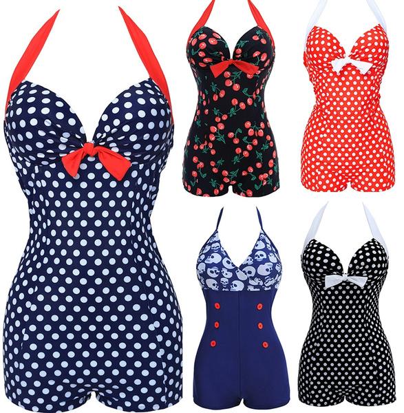push up swimwear, Plus Size, Vintage, onepiece