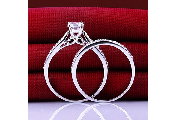 2pcs/set New arrival luxury fashion jewelry Engagement Wedding Cubic Zirconian 925 Silver Rings Size 6 - 10