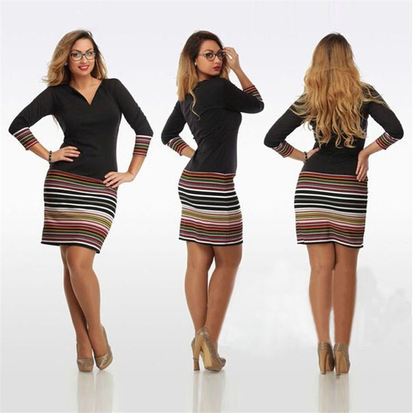 Picture of Women Casual Dress V-neck Sexy Bodycon Dress Girl Elegant Dresses