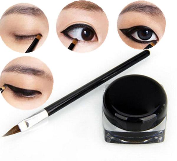 Picture of New Pro Waterproof Eye Liner Eyeliner Shadow Gel Makeup Cosmetic + Brush Black Wiwu