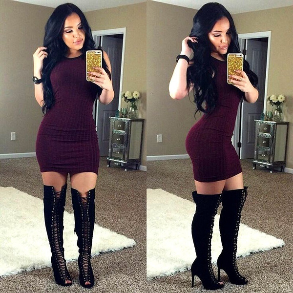 Picture of Sexy Women Sleeveless Bodycon Evening Party Cocktail Mini Dress