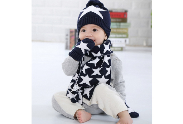 8975036892c3 Wish   Happy Cherry Ensemble Set de 3 pièces Chapeau Bonnet Echarpe Gant  Tricot Enfant Pompon Etoile Chaud Enfant Bébé Fille Garçon Bleu Classique  Beanie ...