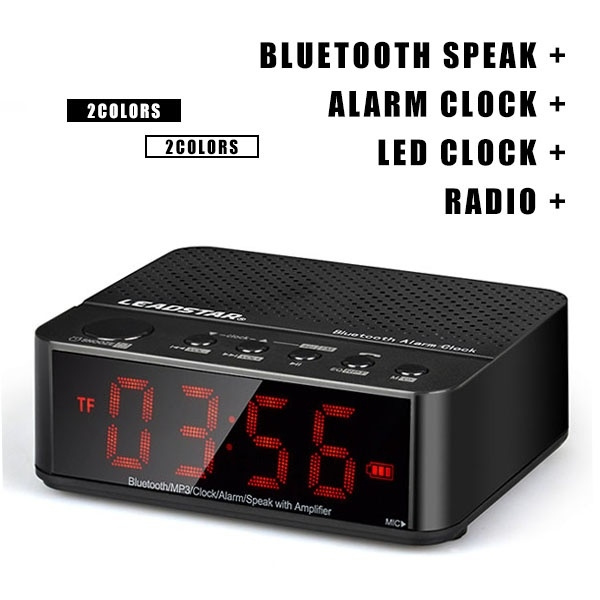Picture of Multifunctional Protable Stereo Wireless Bluetooth Speaker Mini Portable Speaker Super Bass Subwoofer Loudspeakers With Led Clock / Alarm Clock / Fm Radio Wireless For Mobile Phone