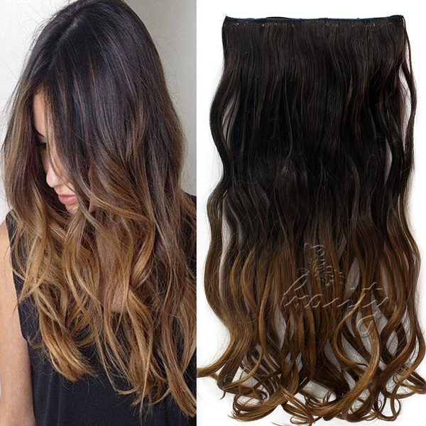 Wish 60cm One Piece Clip In Ombre Curly Wavy Hair Extensions