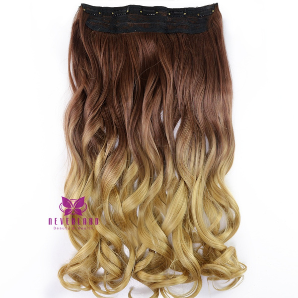 Wish 24 One Piece Clip In Ombre Colored Wavy Hair Extensions Two
