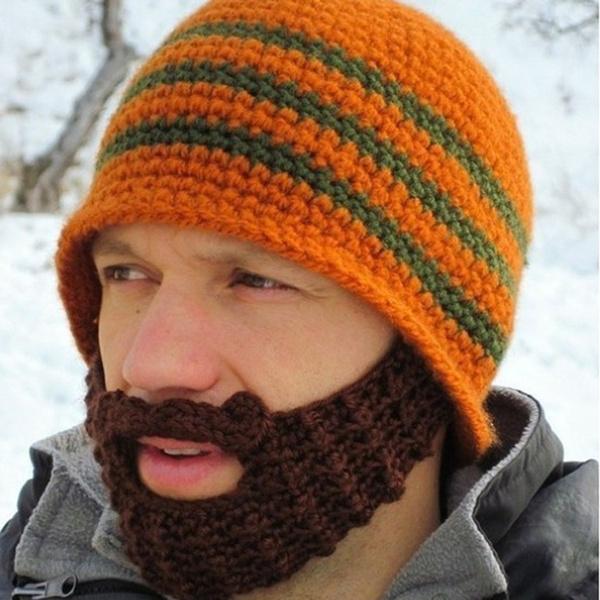 Novelty Vogue Winter Striped Knit Face Mask Beanie Crochet Beard