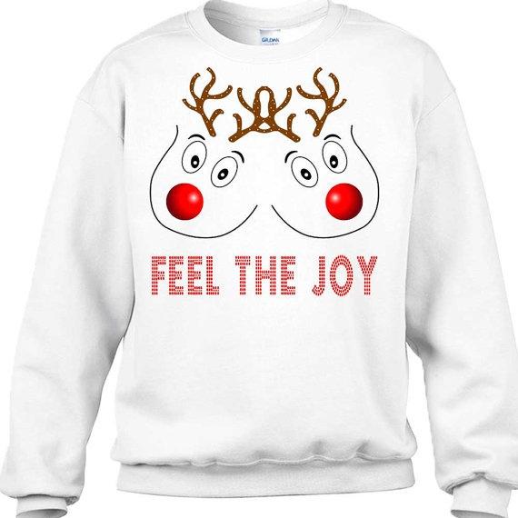 wish feel the joy sweater boobs christmas sweater rude christmas sweater rudolph ugly christmas sweater breast christmas sweater christmas - Feel The Joy Christmas Sweater