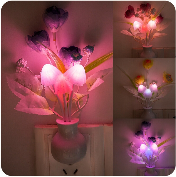 Fashion Creative Home Decor Avatar Rose Mushrooms LED Originality Electronics Gifts Electrical Appliances Intelligent Automatic Night Light Lamp