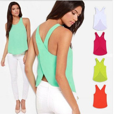 Singular Candy Color Casual  Spring Summer Women Blouses  Lady Shirts Sexy Backless Strap Chiffon Blouse Tops  BGN