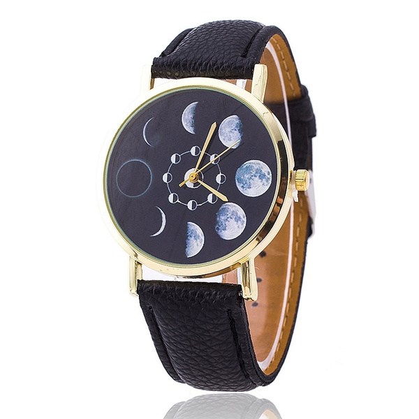 Picture of Fashion Moon Phase Astronomy Space Watch Women Leather Quartz Wrist Watch