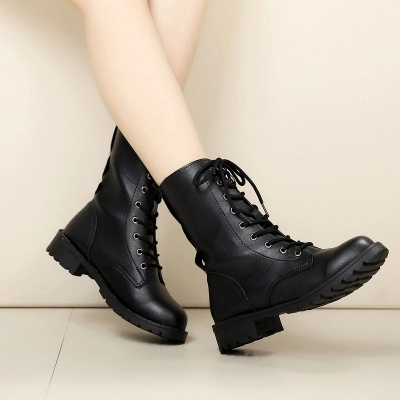Picture of Fast Shipping 4-7 Days Fashion New Women Shoes Casual Ankle Boot Military Combat Boots Lace Up Cowboy Dress Shoes