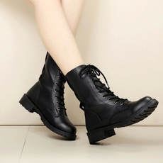 Fashion, Leather Boots, Lace, Combat
