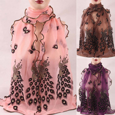 peacock, Scarves, Fashion Scarf, Vintage