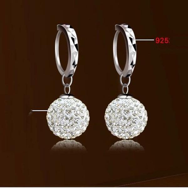 925 Sterling Silver Crystal Rhinestone Earrings CmyARzDFcO