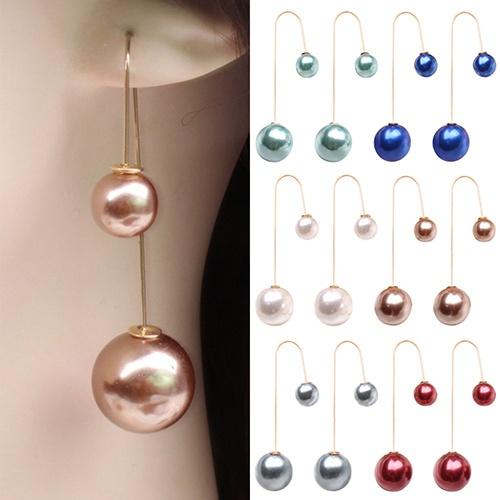 Picture of Trendy Fashion Women's U-shaped Double Sided Faux Pearl Ball Drop Dangle Earrings Wedding Party Jewelry