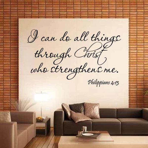 1 Piece Wonderful Room Wall Stickers Fashion Home Decor Latest Classical I Can Do English Proverbs Philippians 4 13 Living Room Wall Stickers