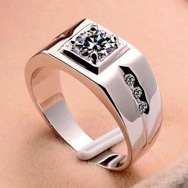 Picture of Luxury Men Women Crystal Rhinestone Wedding Engagement Ring