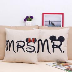 Mr & Mrs Couple Wedding Cotton Linen Throw Pillow Case Cushion Cover Home Decor