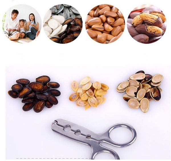 Quick Easy Walnut Nut Cracker Nutcracker Sheller Japan Walnut Plier Lobster Crab Melon Seeds Metal Bottle Opener (Color: Silver)