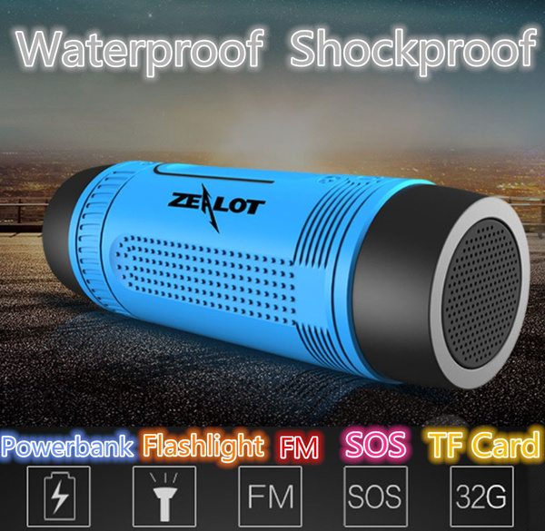 Picture of Wireless Bluetooth Speaker Subwoofer Sound Effect Stereo Audio Sound Hifi Music Player 11 Hours Playtime With 4000mah Power Bankled Flashlight Waterproof Shockproof Portable Stereo Built-in Microphone Handsfree