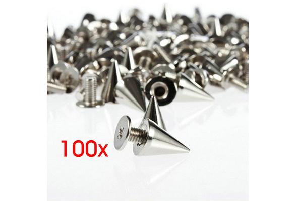 100pcs/set 9.5mm Silver Cone Spikes Screwback Studs DIY Craft Cool Rivets Punk