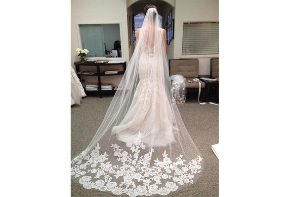 Wedding Accessories Appliques Tulle Long Wedding Lace Edge Bridal Veil with Comb