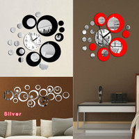 NEW Circles Acrylic Mirror Style Wall Clock Removable Decal Art Sticker Decor