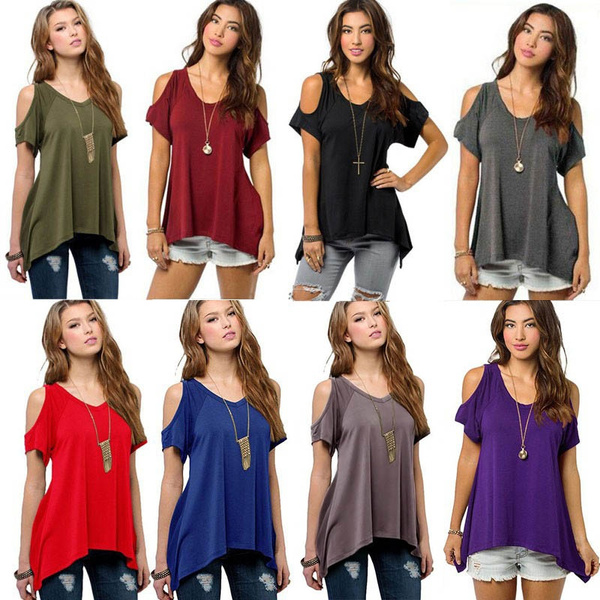 9 colors Women Fashion Off Shoulder Ladys Casual Loose T-shirts Tops Soft Cotton Blouse