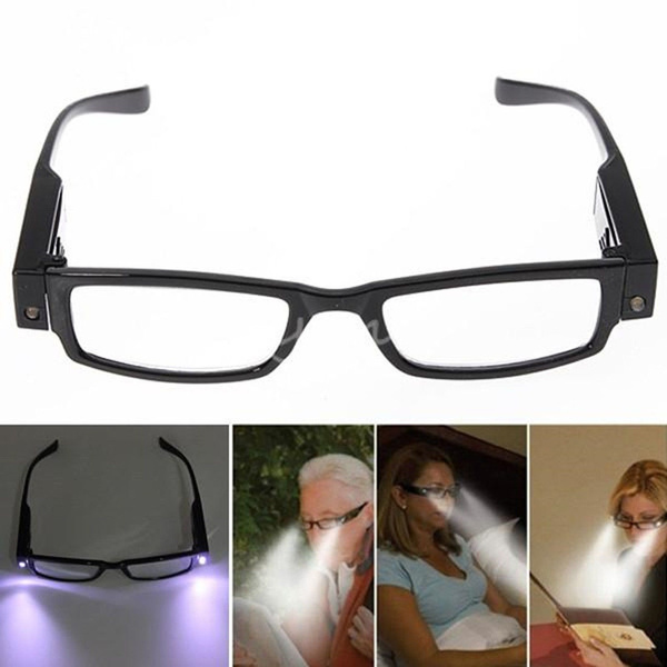 Unisex Rimmed Reading Eye Glasses Eyeglasses Spectacal With LED Light Diopter Magnifier