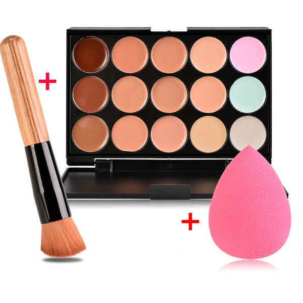 Picture of 15 Color Concealer Palette + Wooden Handle Brush + Cosmetic Puff Base Foundation Concealers Face Powder Makeup Tools
