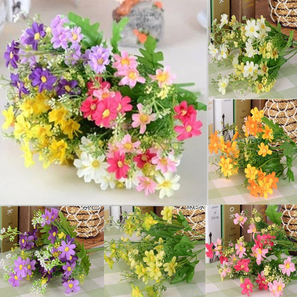 Picture of Artificial Bunch Fake Silk Daisy Flower Bouquet Home Floral Wedding Party Decor