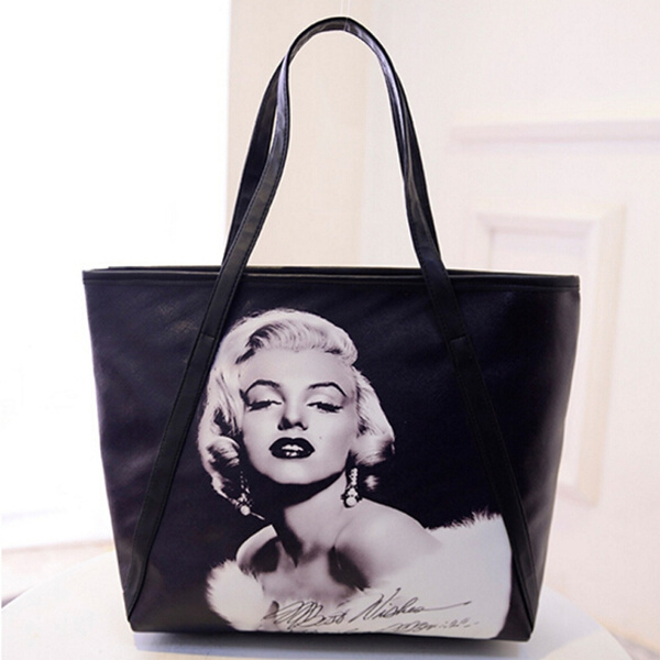 Picture of Women's Large Capacity Bag 3d Print Marilyn Monroe Shoulder Bag Office Lady Bagsize4230cm Color Black