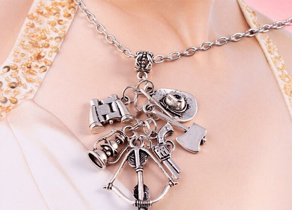 The Walking Dead Men Women's Fashion Accessories Bow and Arrow Creativity Personality Unique Pistol Axe Hat Pure Silver Gun Movie Necklace Jewelry (Color: Silver)