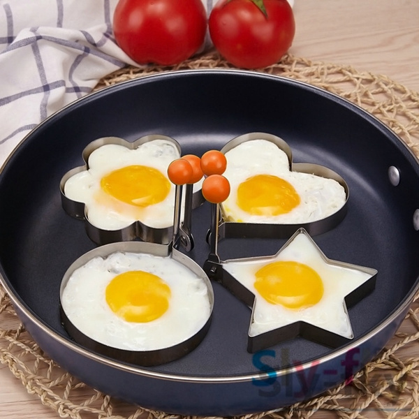 Picture of 1pc Novelty Stainless Steel Fried Egg Shaper Ring Pancake Mould Cooking Toolsent At Random Color Silver