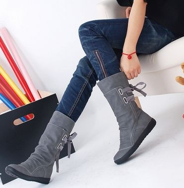 Picture of New Boots Female Spring And Autumn Shoes Boots With Flat Boots Within The Higher Single Student Flat Boots
