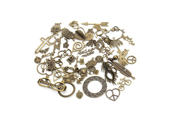 Mixed 50pcs/Lot Assorted Carved Charms Pendants Beads Metal Alloy Pandent Plated Antique Bronze Diy
