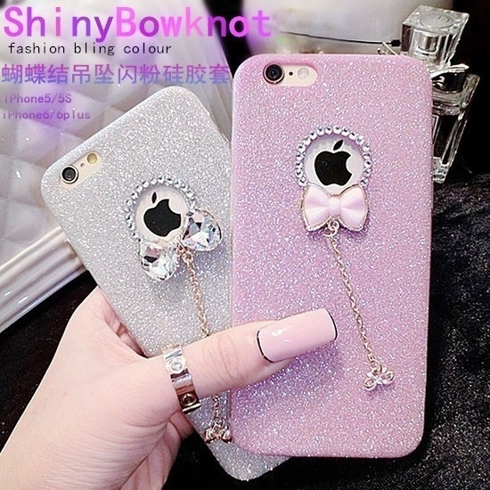 Picture of Luxury Diamond Glitter Bow Pendant Soft Phone Case For Iphone 5 5s 6 6s 6plus 6s Plus /7 7plus Samsung Galaxy S6 S6edge Plus S7 S7edge A310 A510 J3 J510 J710
