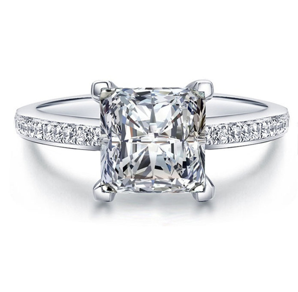 Picture of Noble 925 Sterling Silver Princess Cut Diamond Ring Fashion Jewelry Sets For Women