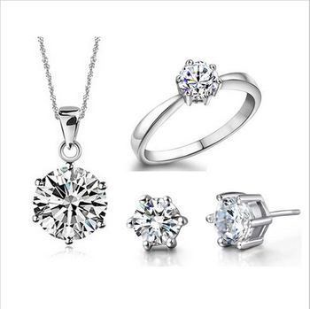 Wedding Fine Jewelry Sets Real Pure 6 Claw Cubic Zircon CZ Pendant Earring Rings Engagement Set 177-13-00493