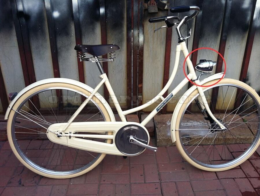 Metal Chrome Vintage Bike Bicycle LED Headlight Front Fog Light Head Lamp