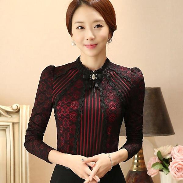 korea, wintertopsforwomen, Lace, korean style