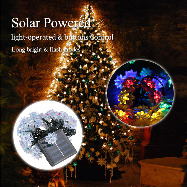 Solar Powered Christmas Lights.Solar Powered Christmas Decoration Lights 30 Led Solar Light String Lotus Solar Fairy Led String Lights For Outdoor Indoor Gardens Houses Patio